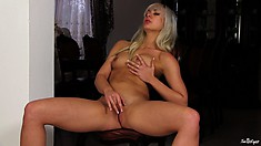 This Silver-haired Babe Loves The Taste Of Her Own Pussy Juice