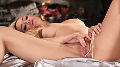 Blonde babe pokes precious pearls in her periwinkle pussy palace