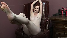 Rude redhead makes her slave worship her feet after a ball-busting treatment