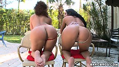 Richelle Ryan and Bella are showing their booties and touching each other