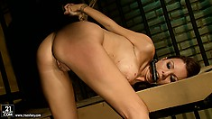 Sadistic fuck bangs her from behind, leaves a creampie and pisses on her