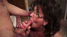 Granny gets a younger cock to suck on and gets licked herself