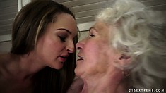 Young lesbian hoochie trading oral skills with an ancient granny