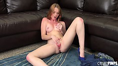 Marie McCray sticks her dildo up her puss and fingers her snatch