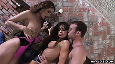 A pair of dazzling brunettes seduce a young stud and embark on a wild threesome