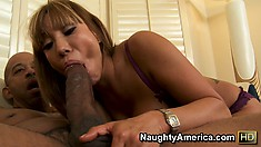 Nothing is more divine than watching slutty Asian Ava Devine suck a big black dick