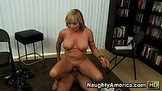 Luna Azul is a busty mature blonde in charge of his raging young dick
