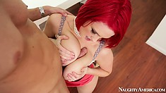 Big tit Siri titty fucks, blows, gets drilled and licked, titties bouncing
