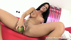 Brunette bimbo brutally fucks her cunt with a thick cucumber