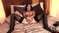 Relaxing With Her Rod ten inches inside her gaping wet fanny