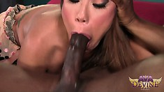 Gorgeous milf with huge tits and a big round ass reveals her passion for black dick