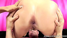 White chick takes a big cock in the ass under her GF's supervision
