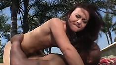 Elizabeth Lawrence gets fucked hard by huge black cock on a picnic