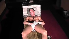 Thick blonde stud with a nice hard cock jacks off in the dark night