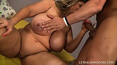 With her hooters all oiled up, Samantha has her lips and hands taking care of his cock