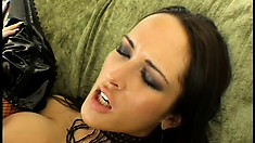 Bitch in mesh stockings gets her ass gaped wide open and loves it