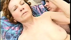 Ancient granny gets her coochie pounded balls deep by a young dick