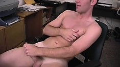 Hot stud Trent shows off his ripped body and jerks his shaft until he cums