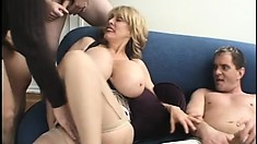Huge tit blonde Milf gets more company to fuck and gets covered in cum