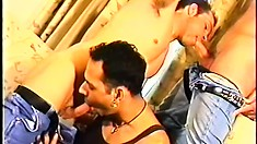 Sweet gay three way action with a trio of hunky jocks jammin' their joints in tight butt