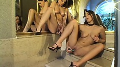 Sexy Zafaria and Aphrodite in hard pounding lesbian loving with tongues and toys