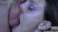 Sexy brunette Isabel blows Benny's long cock and then wildly fucks it