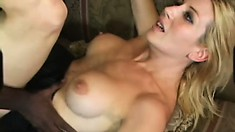 Busty blonde Celestia Star has a massive black dick punishing her pussy