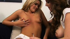 Sexy young blonde Kayla indulges in lesbian sex with a stunning cougar