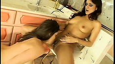 Nadia and Sara have hot lesbian sex for their bathroom webcam