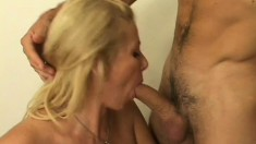 Stacked blonde cougar Penny Porsche reveals her superb footjob skills