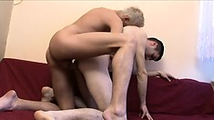 Sasa, with his gay lover, blows before he takes a creampie in his ass
