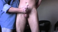 Cute blonde boy takes a dildo up his ass and gets his cock stroked