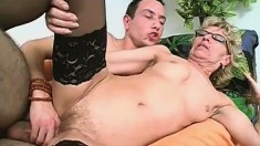 Horny granny Mamy teaches inexperienced Roberto what a real fuck is