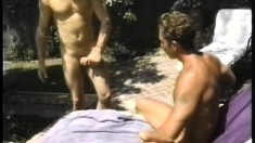 Sexy gay stud relishes the sun on his skin and a hard cock up his ass