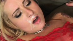 Busty blonde Rebecca Steele loves to get fucked rough by two big cocks