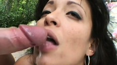 Busry brunette babe gets her face stuffed by massive cocks outdoors