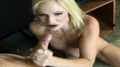 Slender blonde mom spreads her legs and a big cock bangs her wet pussy