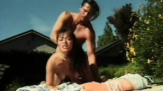 A well hung white guy teaches an Asian chick some things about fucking