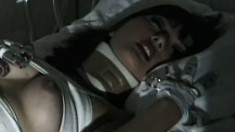 Long-haired beautiful Asian girl is taking part in nasty experiment