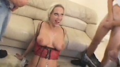 Smiling blonde skank with a massive rack gets barebacked real deep