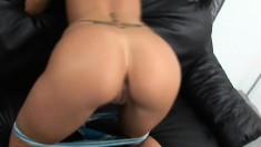 Mega hot babe rides a massive throbbing cock like a true whore