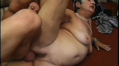 A horny grandma has years of experience in riding young dick