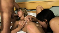 Ellen Houston shares hot threesome action with a boy and a lady-boy