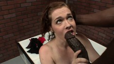Buxom redhead mom Mae Victoria takes a black prick in her hairy peach