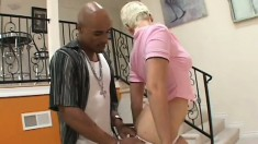 Wild young blonde Claudia Downs is on the lookout for a big black cock