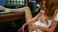 Jessica gets him riled up by teasing and then gets bent over the desk
