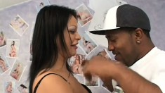 Horny Latina MILF gets down to play with a huge black schlong