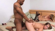 Nikki Stone and Jessica Sexxton getting pounded by a hung black guy