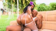 Curvy ebony girl in sexy white lingerie Dyana Diez rides a black dick