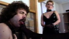 Lusty blonde gets her firm tits squeezed by two bimbos in leather corsets